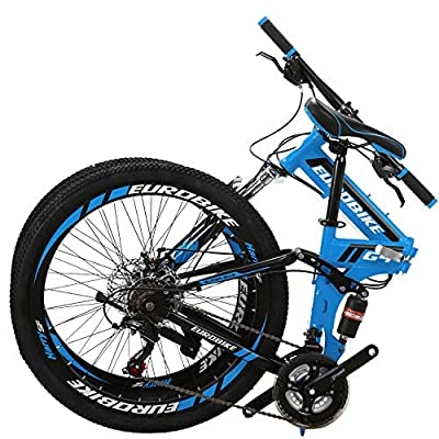 "Eurobike 26"" Full Suspension Mountain Bike 21 Speed Folding Bicycle Men or Women MTB (Blue)"