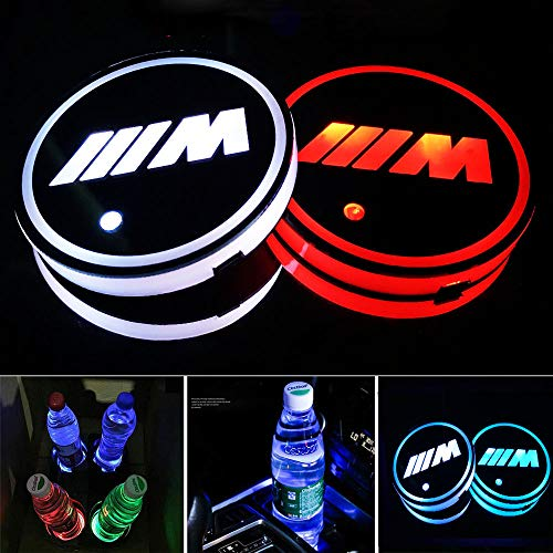 Aswelly LED Car Cup Holder Lights for BMW M, 2PCS Car Logo Cup Coaster with 7 Colors Changing USB Charging Mat, Luminescent Cup Pad Interior Atmosphere Lamp Cool Car Accessories (for ///M)