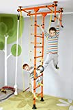 NiroSport FitTop M1 Indoor Jungle Gym Wall Bars for Kids Swedish Ladder Climbing Frame, Certified Safety, Easy Assembly, Max. Load 130 kg, Made in Germany (Orange, Ceiling Height 200-250 cm)