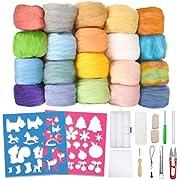 Jeteven 24 Farben Filz Wolle Bastel Schafwolle Quennslandwolle mit Werkzeugset 2 Modell, geeignet für Heimwerker Nadelfilz Nassfilz und Trockenfilz (20 Reine Farben + 4 Mischfarben / 3g)