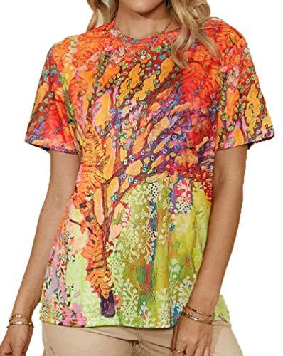 SLYZ 2021 Señoras Verano Personalidad Moda Manga Corta Cuello Redondo Impresión Casual Camiseta Blusa
