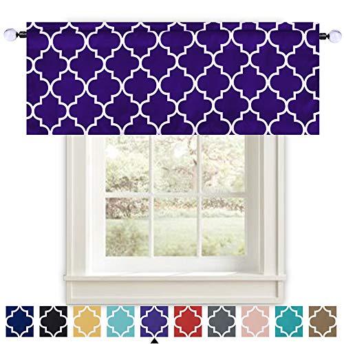 KEQIAOSUOCAI Moroccan Trellis Room Darkening Window Valances for Living Dining Room/Bedroom/Bathroom/Kids Boys Nursery Room - 52 Inch Width by 18 Inch Length (Purple and White 1 Piece)