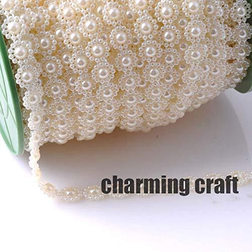 Angelschnur Künstliche Perlen Beige Blume 10mm Perlen Kette Garland Blumen DIY Hochzeit Dekoration 4 Meter CP0316