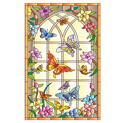 Pigeon Fleet Estilo Europeo Flor de Mariposa estático lámina para Ventanas Ventana...
