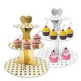 Soporte para tartas de 3 pisos, de cartón, reutilizable, para magdalenas y pasteles (2 unidades)