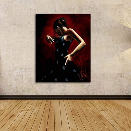 Leinwand Bild,Tanzen Frau Roten Hintergrund, Poster Und Drucke Modulare Wand Bild, Home Decor Einfache Kunst Wandbilder Bild Foto Ausdrucken Wand Für Wohnzimmer, Schlafzimmer, Hotel, Speisesaal, Caf