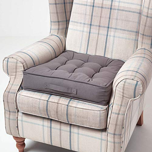 Homescapes großes Sitzkissen 50 x 50 cm, grau, Sitzpolster für Sessel und Sofas mit Tragegriff und Baumwollbezug, gepolstertes Matratzenkissen, 10 cm hoch