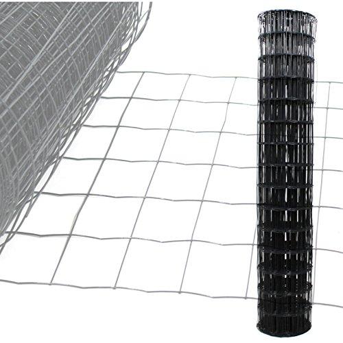 Gartenzaun Anthrazit - 10m Länge x 1,5 m Höhe + kostenloser Versand / Maschendraht Zaun Gitterzaun Maschung 10x7,5 cm Schweißgitter Wildzaun 10m x 1,5m