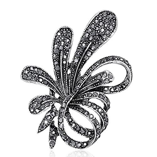 ZSDFW Broche de alfileres vintage de joyería con flores de diamantes de imitación para mujer, joyería de broches, diadema decorada regalo para mujeres y niñas