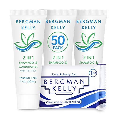 BERGMAN KELLY Rectangle Soap Bars, 2in1 Shampoo & Conditioner 2-Piece Set (White Tea, 1 oz each, 100 pc), Delight Your Guests with Revitalizing & Refreshing Travel Toiletries & Hotel Amenities
