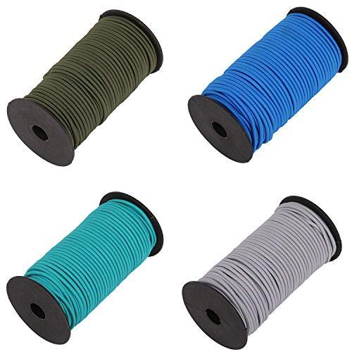 Trimming Shop Cuerda elástica de 4 mm de ancho, cuerda elástica redonda, para costura, kayak, proyectos de manualidades, mochila, postes de tienda de campaña, Verde + Azul + Gris + Oliva, 200 Meres