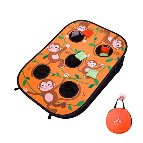 Himal Collapsible Portable 5 Holes Cornhole Game Cornhole Set Bounce Bean Bag Toss Game 10 Bean Bags,Tic Tac Toe Game Double Games (3 x 2-Feet, Single Board) (Orange)