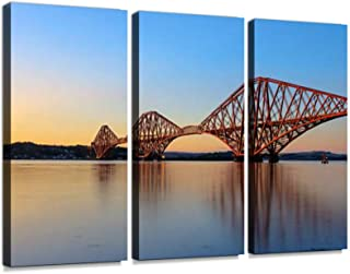 7houarts Forth Rail Bridge at Sunset Canvas Wall Artwork Poster Modern Home Wall Unique Pattern Wall Decoration Stretched and Framed - 3 Piece