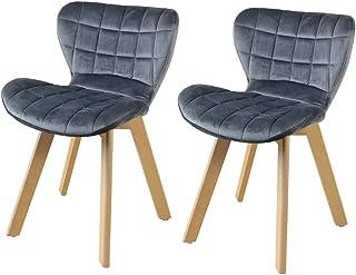 ダイニングチェア イームズチェア 2脚セット 木脚 木製 肉厚座面クッション 背もたれクッション オランダベルベット生地 EAMES Eames DSW 組立簡単 食卓椅子 おしゃれ リビング ダイニング 新生活 シェルチェア (グレー*2)