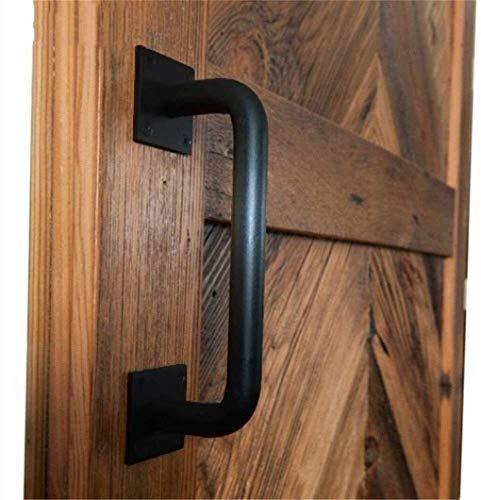 GFDRT Hardware pasamanos Puertas de Garaje, Mango Negro Plancha |Duradera Resistente correderas industriales Puerta de Granero de la manija (Tamaño: 320 mm) 1030 (Size : 200mm)