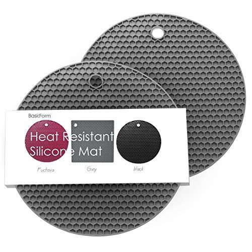 BasicForm Silikon hitzebeständiger Untersetzer, hitzebeständig, multifunktional, Wabenmuster(2 Stück)(Grau),MEHRWEG