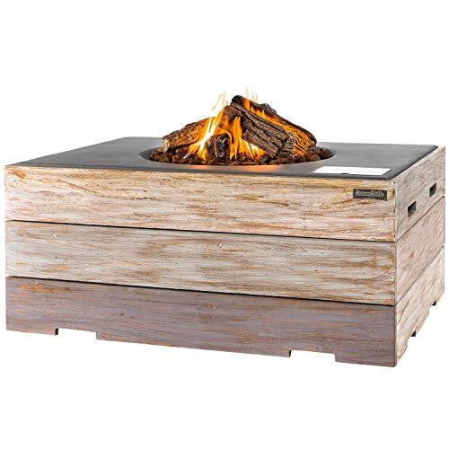 M A N I A Feuertisch Grill Deluxe Set - Gas Feuerstelle ohne Rauch, Funken, Glut & Asche - Gaskamin Outdoor mit 19,5 kW Nice & Nasty grau 107 x 80 x 46 cm - Gasfeuerstelle Terrassenkamin Kaminfeuer