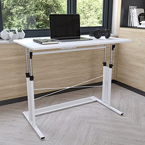 Flash Furniture Height Adjustable (27.25-35.75'H) Sit to Stand Home Office Desk - White