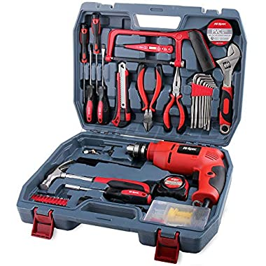 Hi-Spec Complete 130pc 110V 300W Hammer Power Drill & Hand Tool Set Combo Kit with Hacksaw, Pliers, Claw-Hammer, Wrench, Box Cutter, Hex Keys, Screwdrivers, Socket and Driver Bits, Voltage Tester Case