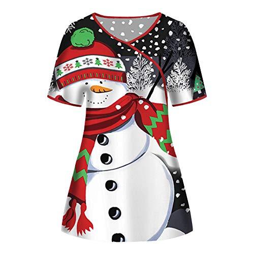 Baralonly Women's Christmas Scrub_Top V-Neck Workwear Thanksgiving Christmas Holiday Tops Blouse Uniform