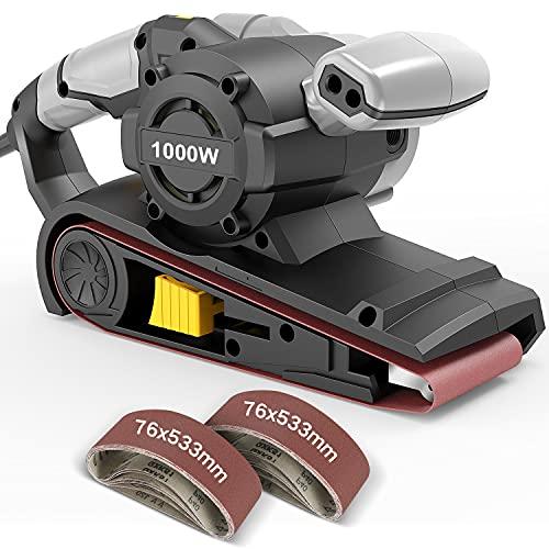 Lijadora de Banda Jellas, 1000W Lijadora Eléctrica con 6 Velocidad Variable, 12 Bandas de Lija 76x533mm, Pulsador de Bloqueo...
