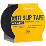 NestWerks Grip Tape. Anti Slip Tape and Non Slip Tape for Household Applications. High Traction for Stairs, Staircases and Outdoor Uses. Easy to Apply Quality Adhesion, 4 inch Wide by 33 feet Long