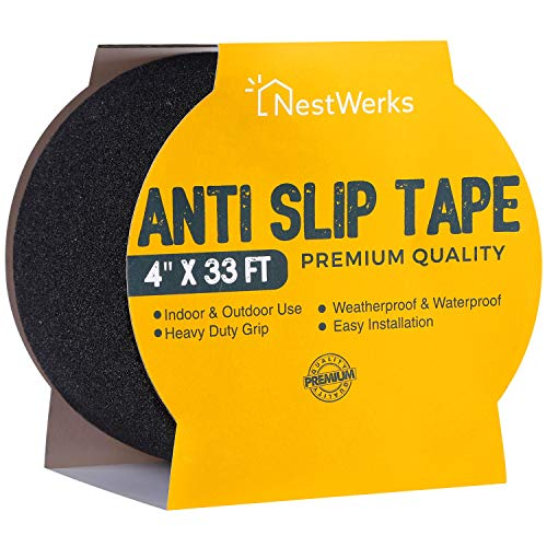 Anti Slip Tape - Heavy Duty Grip Tape Roll and High Traction Non Slip Tape for Outdoor and Indoor Stairs and Steps. Easy to Apply Safety Non Skid Tape - 4  x 33