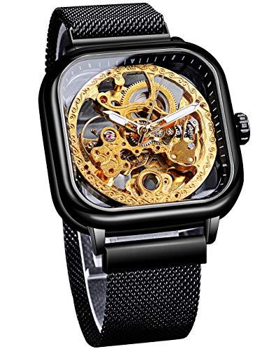 Forsining - Reloj de pulsera mecánico automático, color negro y dorado para hombre, diseño de esqueleto de trabajo abierto