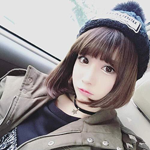 Bobo Head Qi Liu Short Straight Hair Europeo y Americano Damas de las señoras Neaturardo marrón marrón oscuro WHY666