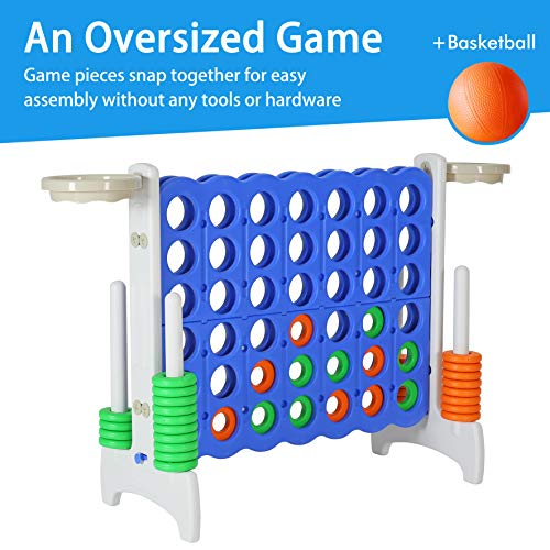 Giant 4-in-a-Row Game Set, 33inch Indoor/Outdoor Game for Kids, Adult and Family Backyard Games with Basketball Activity, Gray/Blue -SSZQ02GB