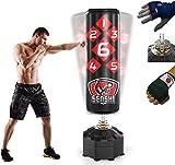 Senshi Japan Saco de boxeo de pie de 184 cm - Perfecto para entrenamiento - Fabricado en piel de alta resistencia y acero - El mejor saco de boxeo para artes marciales, 'Muay Thai' y 'Kick boxing'