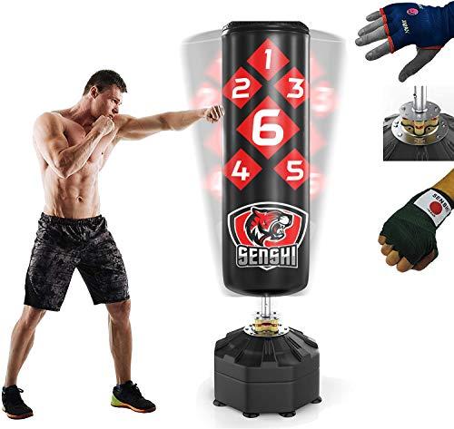 Senshi Japan, sacco da boxe autoportante, 1,8 m, per allenamento e pratica, realizzato in resistente pelle artificiale e acciaio, ottimo sacco da boxe per arti marziali, muay thai e pugilato