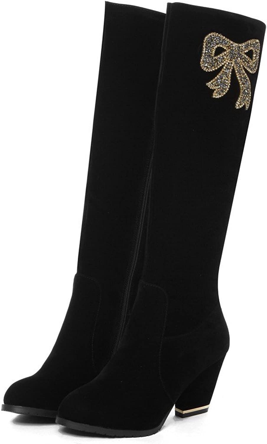 WeiPoot Womens Closed Round Toe High Heels Imitated Suede Frosted Solid Boots with Glass Diamond