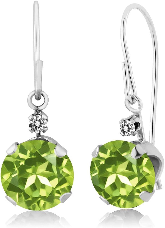 1.83 Ct Round Green Peridot White Diamond 14K White gold Earrings