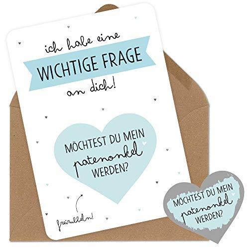 Rubbelkarte für den Patenonkel zum Fragen als Geschenk Karte Rubbellose zur Geburt mit Umschlag