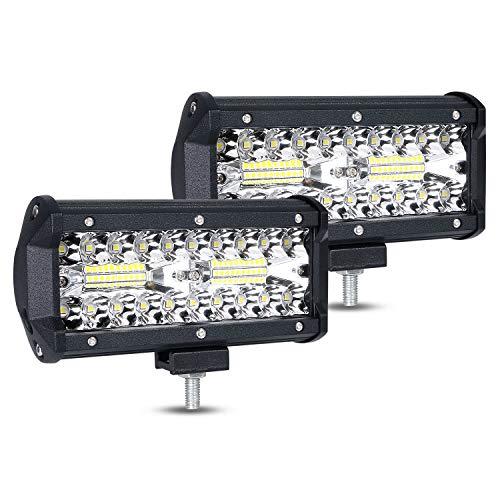URAQT LED Arbeitsscheinwerfer, Scheinwerfer LED Auto, 2x120W Zusatzscheinwerfer, Flutlicht Wasserdicht, Wasserdicht Offroad Scheinwerfer, 7 Zoll