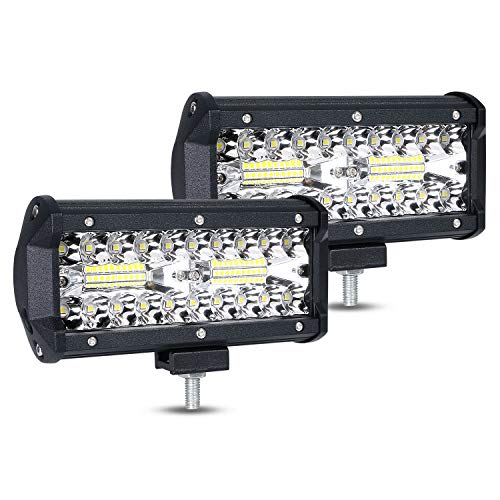 URAQT Foco Led para vehículo, tamaño 7 Pulgadas, 2 pcs de 120W Superbrillantes LED Faros de Trabajo, Luz de Niebla de Conducción IP67 para SUV, ATV, Barco, etc
