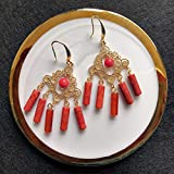Indian Initiation Serie de Civilizaciones Antiguas 2020 Pendiente de ágata roja hecha a mano y Lamouroux y borla de coral con ganchos chapados en oro