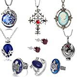 XHBTS 10 Set Replace The Vampire Diaries Daywalking Katherine Sapphire Crystal Pendant Necklaces Ring Elena Verbena Opening Charm Necklace Movie Jewelry Set Cosplay For Fans
