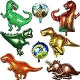 8 Stücke Dinosaurier Folien Ballon inklusiv 6 Stücke Folien Ballon Dinosaurier und 2 Stücke Runde...
