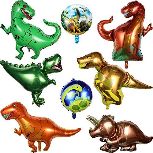 8 Stücke Dinosaurier Folien Ballon inklusiv 6 Stücke Folien Ballon Dinosaurier und 2 Stücke Runde Dinosaurier Folien Ballons für Geburtstag Dinosaurier Jungle Stil Party