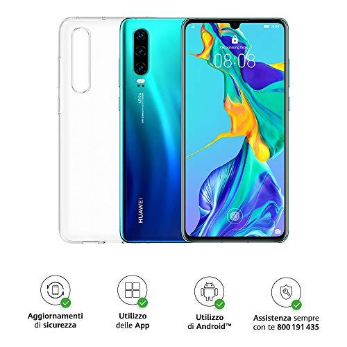 "Huawei P30 (Aurora) Smartphone + Cover Trasparente, 6GB RAM, Memoria 128 GB, Display 6.1"" FHD+, Processore Kirin 980, Tripla Fotocamera Posteriore 40+16+8MP, Fotocamera Anteriore da 32 MP[Italia]"