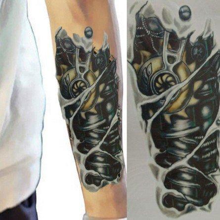 Roboterarm Tattoo - Temporäres Biomechanik Tattoo wx050