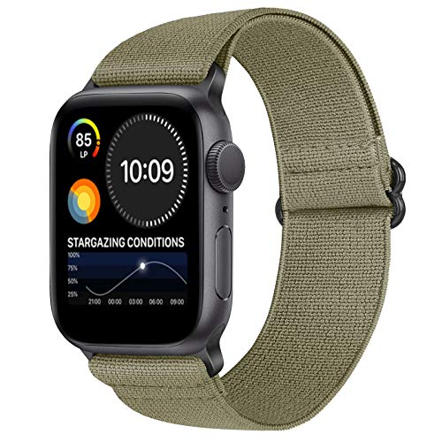 XFYELE Nylon Elastic Watch Band Compatible with Apple Watch 38mm 40mm, Soft Adjustable Stretchy Bracelet Replacement Wristbands for iWatch Series SE/6/5/4/3/2/1 (Khaki, 38mm/40mm)