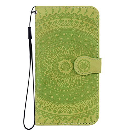 ZXMDP Cubierta del teléfono para iPhone X XS XR 11 Pro MAX 6 6S 7 8 Plus 5 5S Retro Floral Capa Phone Flip Case Wallet, Verde Hierba, para iPhone 11
