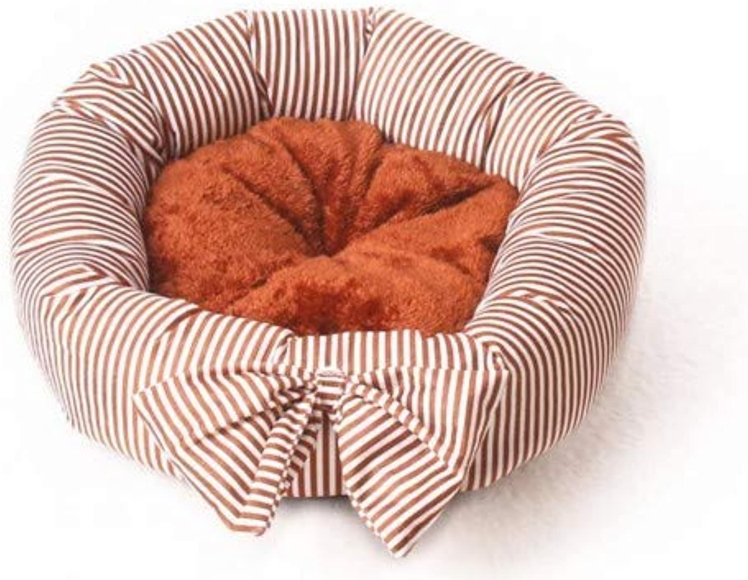 Cute Bow Round Kennel Teddy Small and Medium Dog pet nest mat cat Litter (color   Reddish Brown)