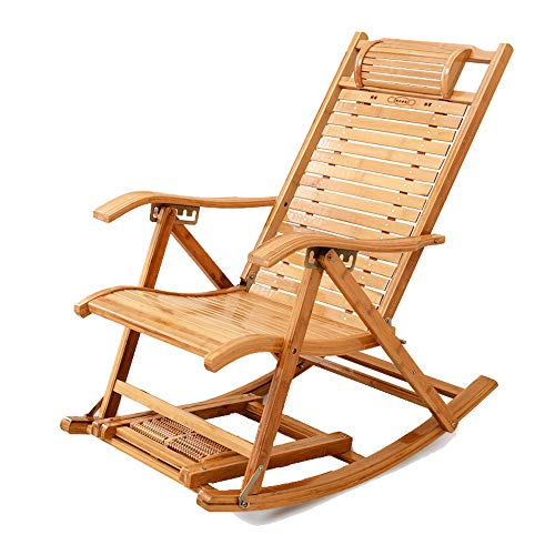 Chaise en Bambou, Fauteuil à Bascule en Bambou, Fauteuil à Bascule Balcon inclinable Chaise Adulte Pliant déjeuner Pause Chaise Loisirs Personnes âgées Chaise