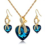 Long Way Austrian Crystal Fashion Heart Jewelry Sets Necklace Earrings Wedding