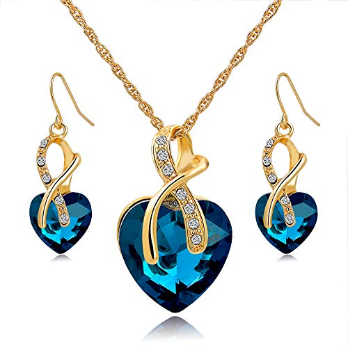 Long Way® Austrian Crystal Fashion Heart Jewelry Sets Necklace Earrings Wedding Party Accessories