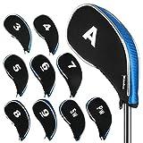 Andux Nuevo diseño Funda de Palo de Golf hierros con Cremallera 10pcs/Set MT/YB01 Negro/Azul